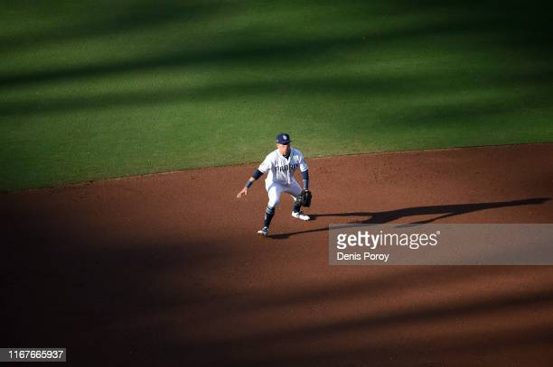 Luis Urias of the San Diego Padres during the second inning of a baseball game agains the Colorado Rockies at Petco Park August 10 2019 in San Diego...