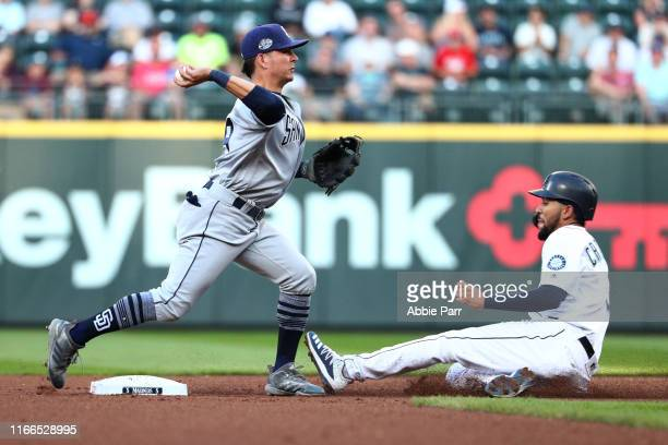 Luis Urias of the San Diego Padres throws the ball to first for a double play after forcing out JP Crawford of the Seattle Mariners in the first...