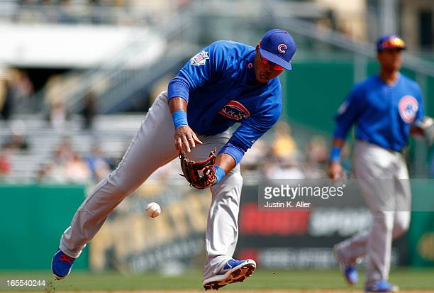 Luis Valbuena of the Chicago Cubs errors in the seventh inning against the Pittsburgh Pirates during the game on April 4 2013 at PNC Park in...