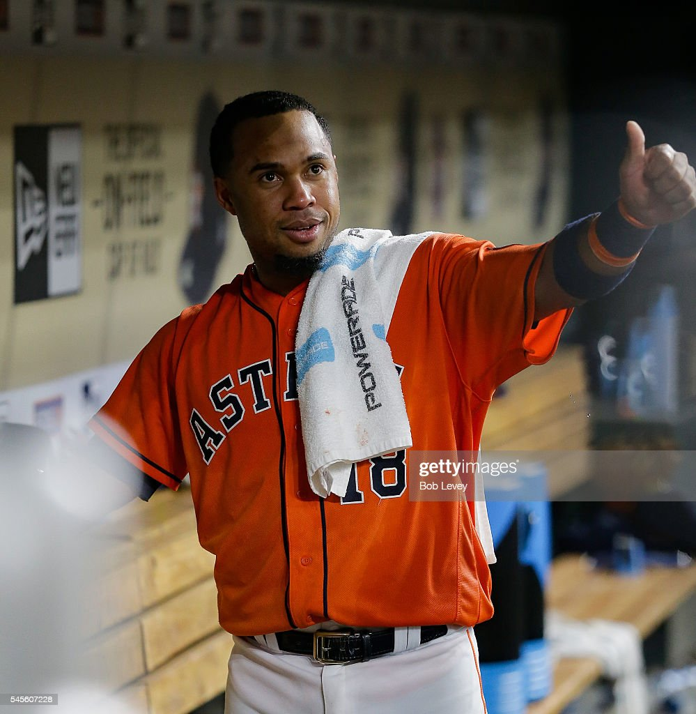 Luis Valbuena #18 of the Houston Astros gives a thumbs up to some fans after he hit a three-run walkoff home run in the ninth inning to defeat the Oakland Athletics 10-9 at Minute Maid Park on July 8, 2016 in Houston, Texas.