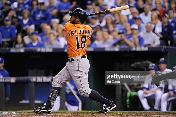 Luis Valbuena of the Houston Astros hits a tworun home run in the second inning against the Kansas City Royals during game five of the American...