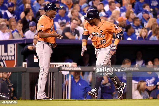 Luis Valbuena of the Houston Astros rounds the bases after hitting a tworun home run in the top of the second inning of Game 5 of the ALDS against...