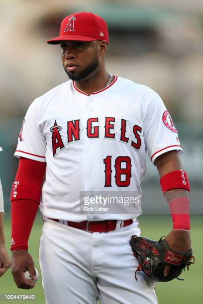 Luis Valbuena of the Los Angeles Angels looks on before the game against the Seattle Mariners at Angel Stadium on July 10 2018 in Anaheim California...