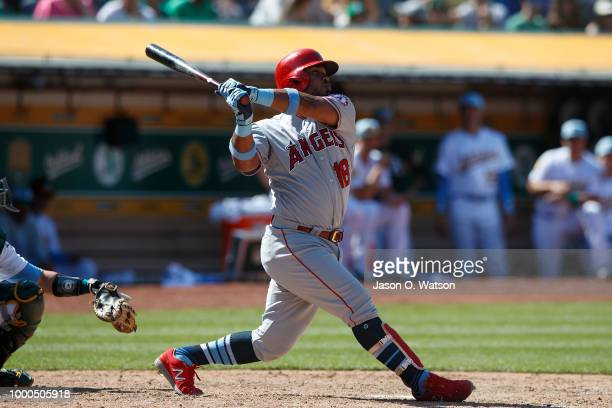 Luis Valbuena of the Los Angeles Angels of Anaheim at bat against the Oakland Athletics during the tenth inning at the Oakland Coliseum on June 17...