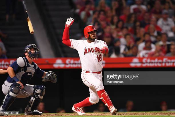 Luis Valbuena of the Los Angeles Angels of Anaheim at bat during the MLB game against the Seattle Mariners at Angel Stadium on July 10 2018 in...