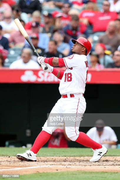 Luis Valbuena of the Los Angeles Angels of Anaheim bats during the game against the Cleveland Indians at Angel Stadium on September 21 2017 in...