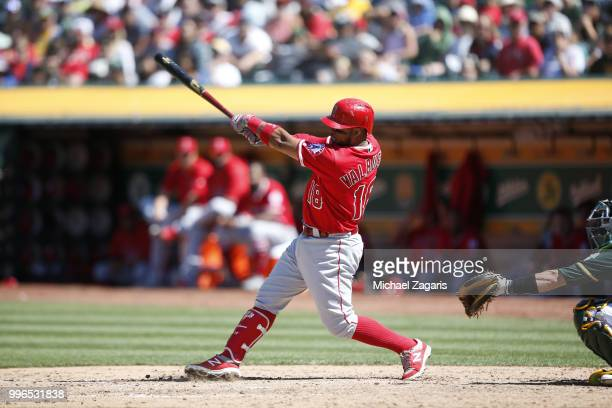 Luis Valbuena of the Los Angeles Angels of Anaheim bats during the game against the Oakland Athletics at the Oakland Alameda Coliseum on June 16 2018...