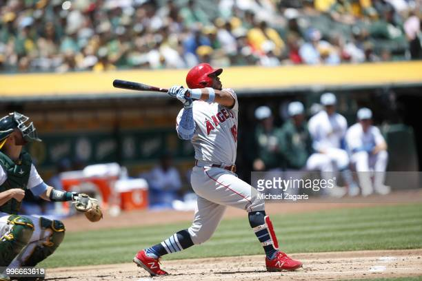 Luis Valbuena of the Los Angeles Angels of Anaheim bats during the game against the Oakland Athletics at the Oakland Alameda Coliseum on June 17 2018...