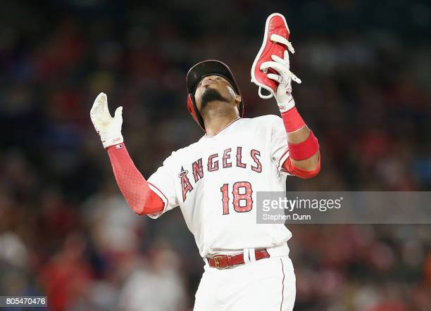 Luis Valbuena of the Los Angeles Angels of Anaheim celebrates on second after hitting double in the seventh inning against the Seattle Mariners at...