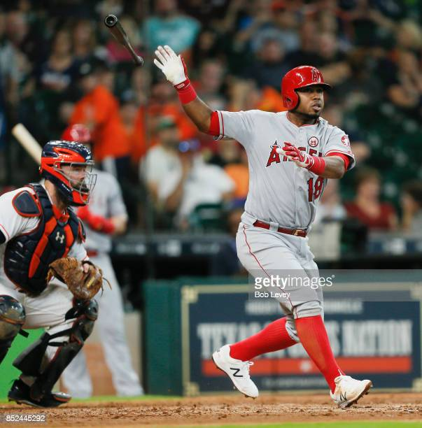 Luis Valbuena of the Los Angeles Angels of Anaheim doubles in the sixth inning against the Houston Astros at Minute Maid Park on September 23 2017 in...