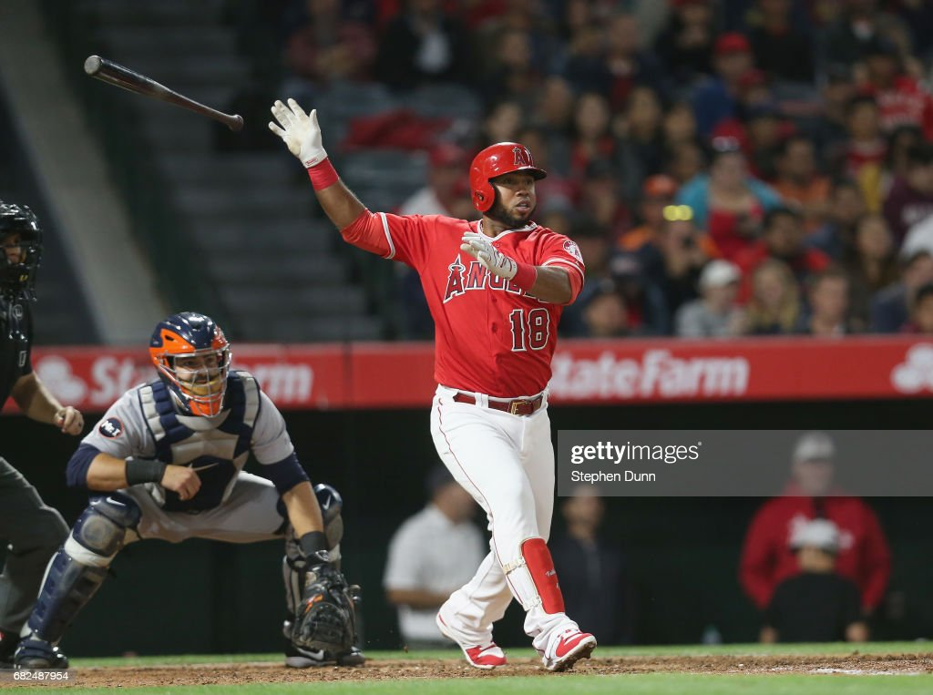 Luis Valbuena #18 of the Los Angeles Angels of Anaheim hits a single in the sixth inning against the Detroit Tigers at Angel Stadium of Anaheim on May 12, 2017 in Anaheim, California. Valbuena reached second on the play and a run scored after an error by right fielder J.D. Martinez.