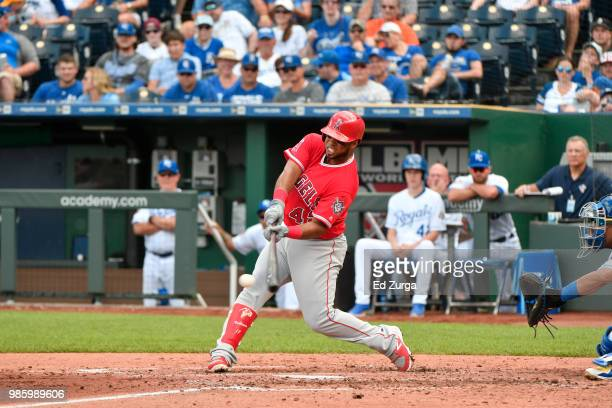 Luis Valbuena of the Los Angeles Angels of Anaheim hits against the Kansas City Royals at Kauffman Stadium on June 25 2018 in Kansas City Missouri...