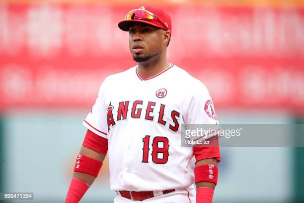 Luis Valbuena of the Los Angeles Angels of Anaheim looks on before the game against the Cleveland Indians at Angel Stadium on September 21 2017 in...
