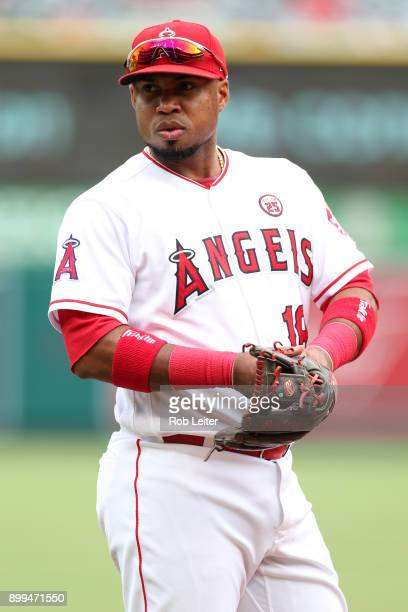 Luis Valbuena of the Los Angeles Angels of Anaheim looks on during the game against the Cleveland Indians at Angel Stadium on September 21 2017 in...