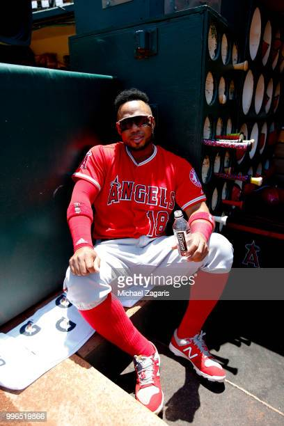 Luis Valbuena of the Los Angeles Angels of Anaheim sits in the dugout prior to the game against the Oakland Athletics at the Oakland Alameda Coliseum...