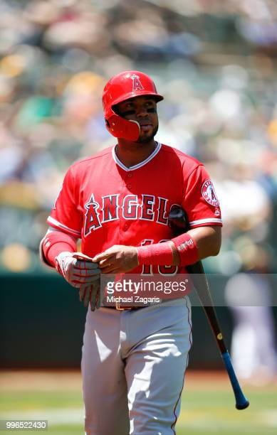 Luis Valbuena of the Los Angeles Angels of Anaheim stands on the field during the game against the Oakland Athletics at the Oakland Alameda Coliseum...