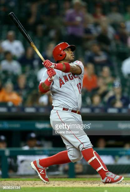 Luis Valbuena of the Los Angeles Angels of Anaheim watches his solo home run against the Detroit Tigers during the eighth inning at Comerica Park on...