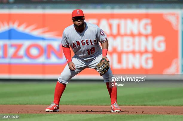 Luis Valbuena of the Los Angeles Angels plays first base against the Los Angeles Angels at Oriole Park at Camden Yards on June 30 2018 in Baltimore...