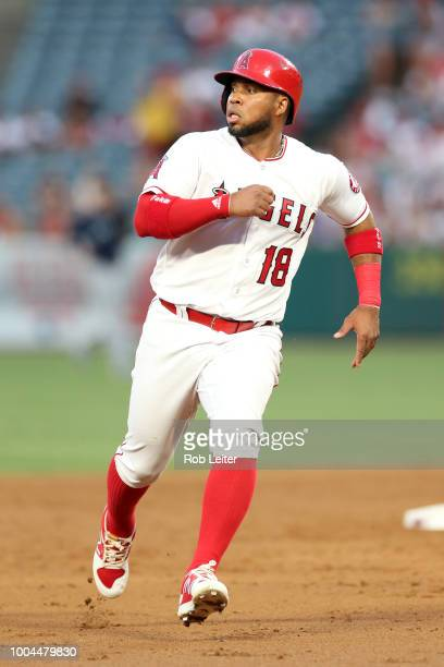 Luis Valbuena of the Los Angeles Angels runs during the game against the Seattle Mariners at Angel Stadium on July 10 2018 in Anaheim California The...