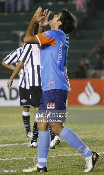 Luis Veira of Blooming in lament after missing a goal during a match against Libertad at Ramon Aguilera Costa Stadium on April 15 2010 in Santa Cruz...