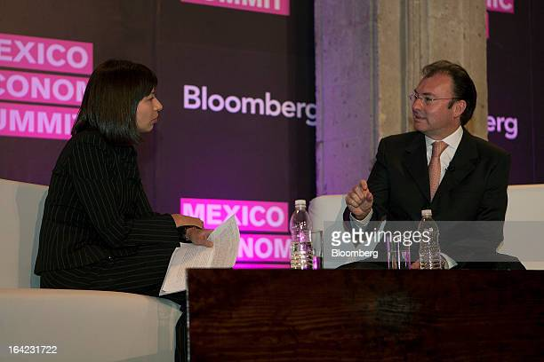 Luis Videgaray Mexico's finance minister right speaks during an interview with Adriana Arai of Bloomberg News at the Bloomberg Mexico Economic Summit...