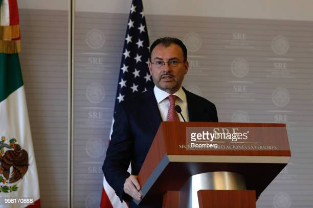 Luis Videgaray Mexico's foreign minister speaks during a meeting with Mike Pompeo US secretary of state not pictured in Mexico City Mexico on Friday...