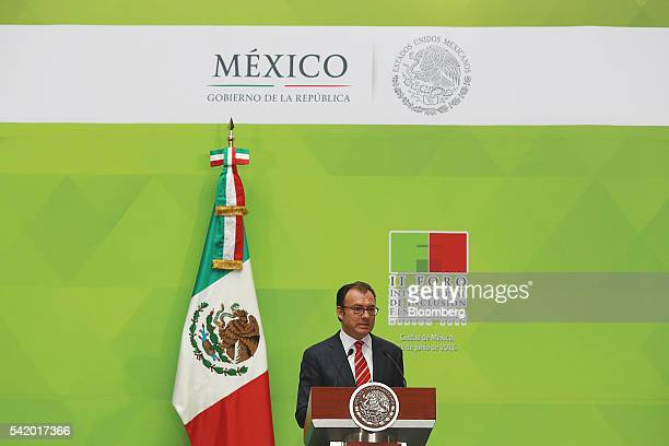 Luis Videgaray Mexico's minister of finance speaks during a financial inclusion forum at the Palacio Nacional in Mexico City Mexico on Tuesday June...