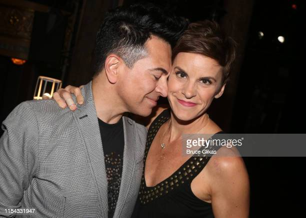 Luis Villabon and Jenn Colella pose backstage at the hit musical Come From Away on Broadway at The Schoenfeld Theatre on June 6 2019 in New York City