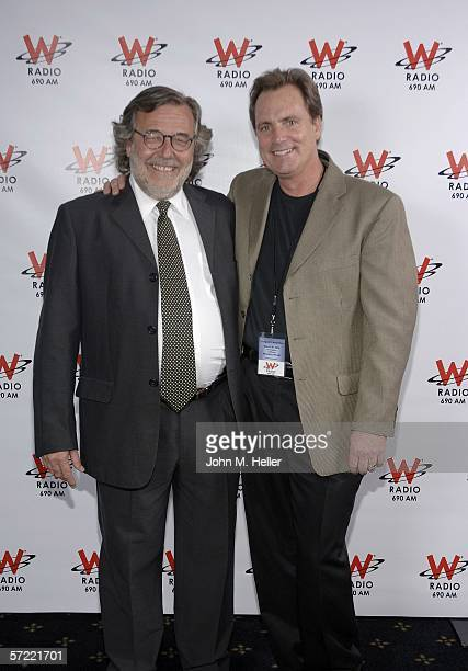 Luis Villalba Vice president of Operations Grupo Latino De radio and Chris Little News Director KFI Radio at the Launch Party of W Radio at the Music...