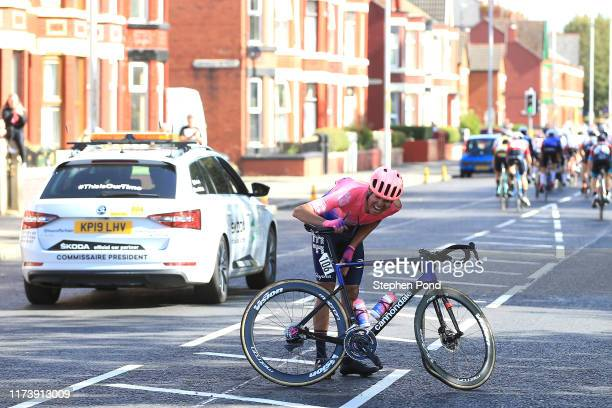 Luis Villalobos of Mexico and EF Education First Pro Cycling / Crash / Injury /during the 16th Tour of Britain 2019 Stage 5 a 1741km stage from...