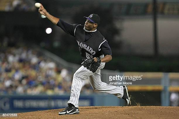 Luis Vizcaino of the Colorado Rockies pitches against the Los Angeles Dodgers in the sixth inning during the game on August 19 2008 at Dodger Stadium...