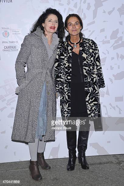 Luisa Beccaria and Cristina Lucchini attend The Vogue Talents Corner.com during Milan Fashion Week Womenswear Autumn/Winter 2014 on February 19, 2014...
