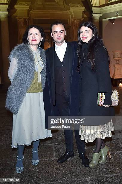 Luisa Beccaria Michael Avedon and Lucilla Bonaccorsi attend Vogue Cocktail Party honoring photographer Mario Testino on February 27 2016 in Milan...