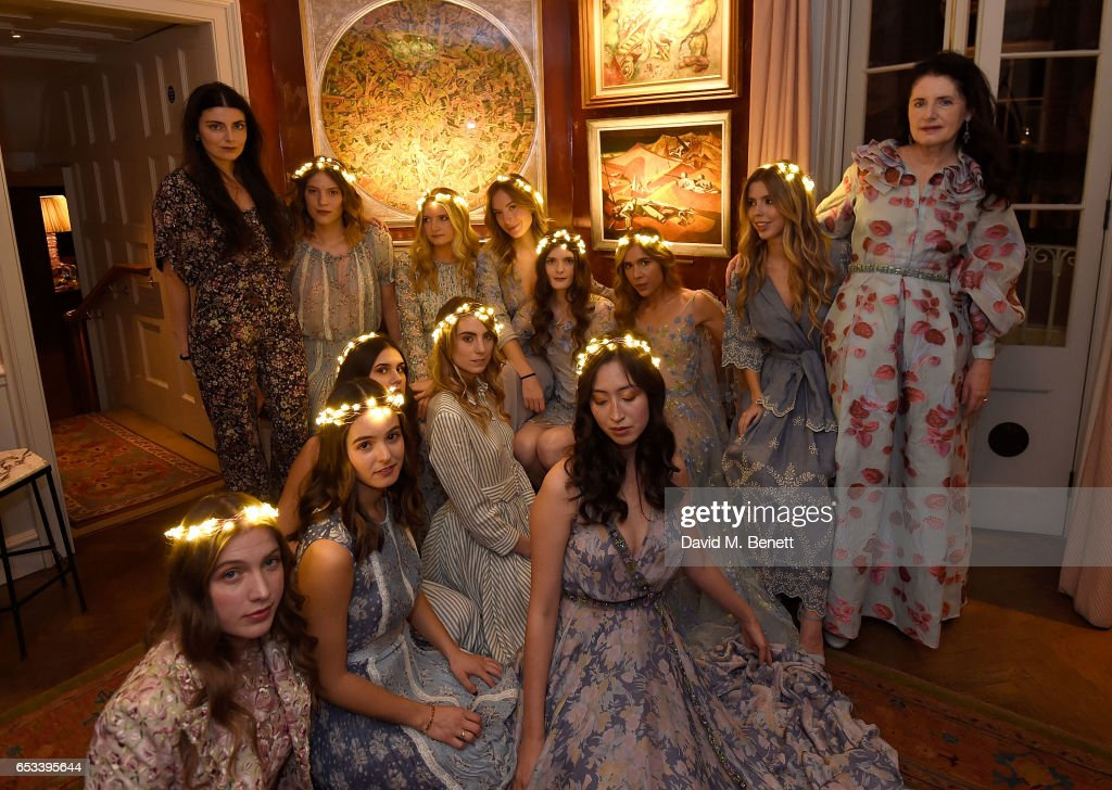 Luisa Beccaria (L) with models at the Luisa Beccaria and Robin Birley event celebrating Sicilian lifestyle, music and fashion at 'Upstairs', at 5 Hertford Street on March 14, 2017 in London, England.