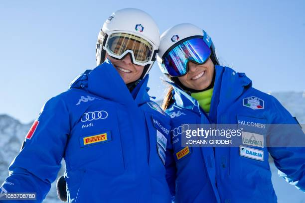 Luisa Bertani of Italy and Elena Sandulli of Italy take part in a training session prior to the FIS ski alpine world cup at the Rettenbach Glacier in...