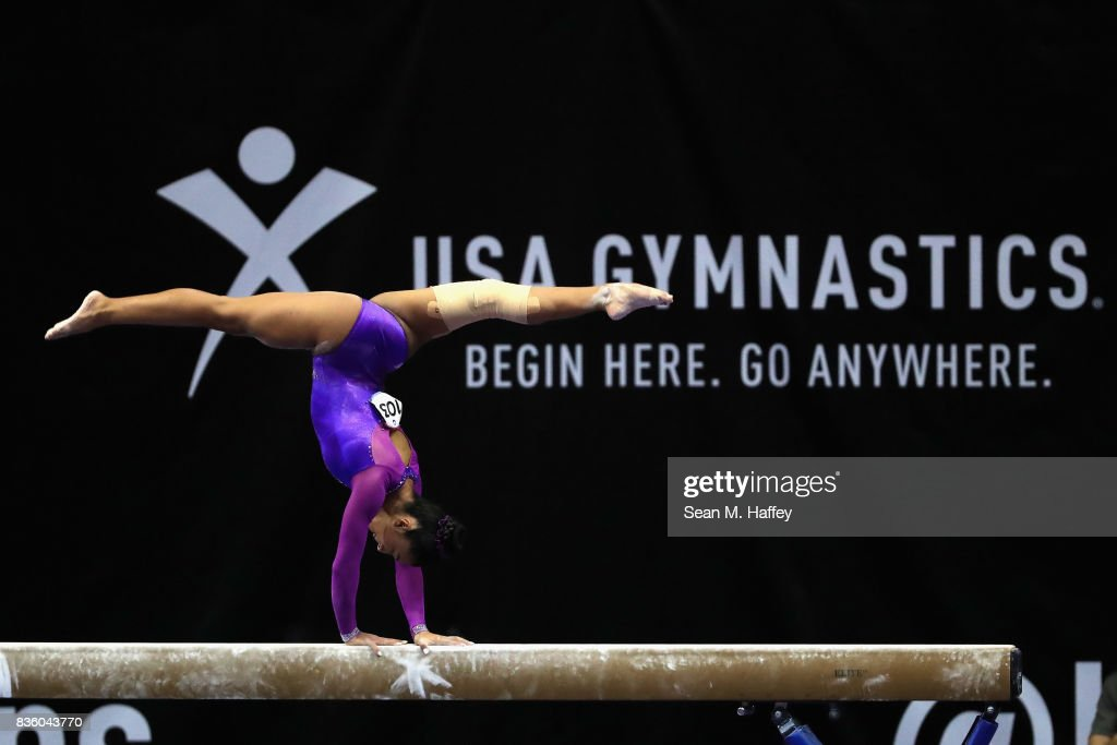 Luisa Blanco competes on the Balance Beam during the P&G Gymnastics Championships at Honda Center on August 20, 2017 in Anaheim, California.
