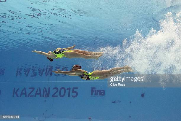 Luisa Borges and Maria Eduarda Miccuci of Brazil compete in the Women's Duet Free Synchronised Swimming Final on day six of the 16th FINA World...