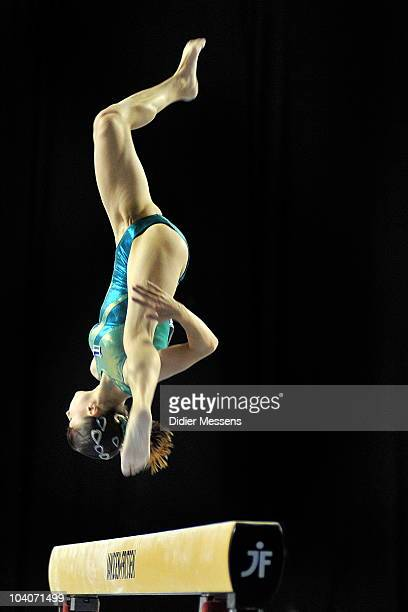 Luisa from Uzbekistan competes on the beam during the finals of the World Cup Gymnastics on September 12 2010 in Gent Belgium