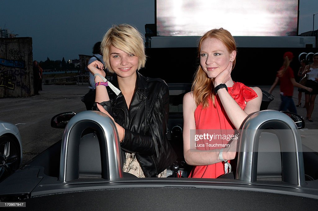 Luisa Hartema (L) and Maike van Grieken attend the ' Audi Urban Cinema ' on June 20, 2013 in Berlin, Germany.