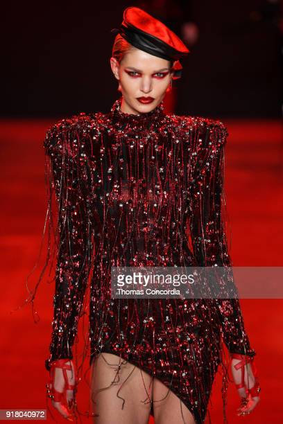 Luisa Hartema walks the runway wearing The Blonds Fall 2018 Collection with makeup by Kabuki Magic and the MAC Pro team hair by Kien Hoang and Oribe...