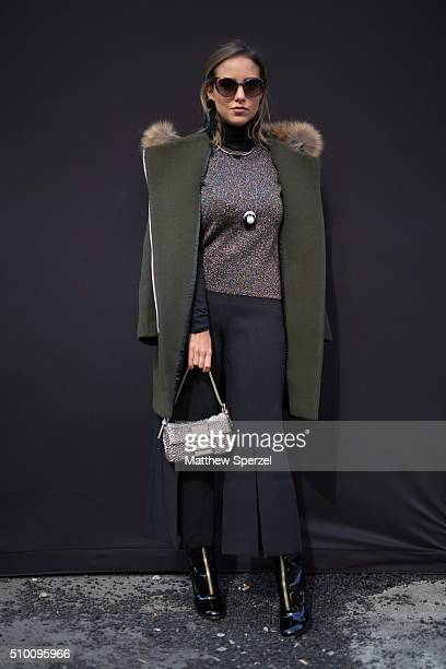 Luisa Maculan Pavesi Accorsi and Dandynha Barbosa are seen at Herve Leger by Max Azria during New York Fashion Week: Women's Fall/Winter 2016 on...