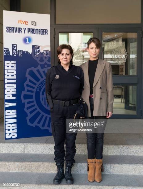 Luisa Martin and Andrea del Rio attend the 'Servir Y Proteger' New Characters Presentation on February 16 2018 in Madrid Spain