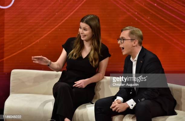 Luisa Neubauer and Philipp Amthor attend the tv show Menschen 2019 der ZDF Jahresrueckblick on December 16 2019 at Phoenixstudio in Hamburg Germany