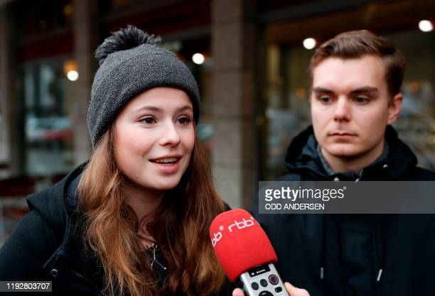 Luisa Neubauer climate activist of the German branch of the Fridays for Future youth movement gives an interview after a meeting with the CEO of...