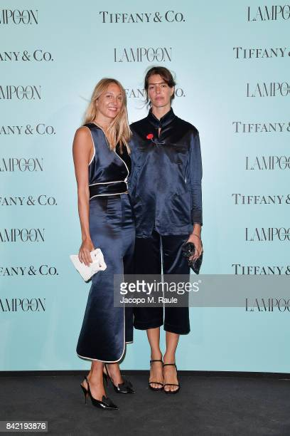 Luisa Orsini and Tine Peduzzi attend Keep On Shining Party Tiffany and Co For Lampoon Magazine at Conservatorio Di Venezia on September 2 2017 in...
