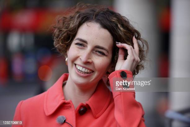 Luisa Porritt, Liberal Democrat Mayoral Candidate speaks to the media as she campaigns in Surbiton on May 5, 2021 in London, England. Local elections...