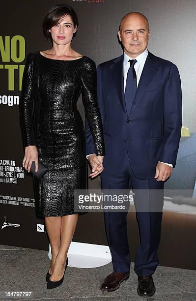 Luisa Ranieri and Luca Zingaretti attend the preview of film 'Adriano Olivetti La forza di un sogno' on October 16 2013 in Milan Italy