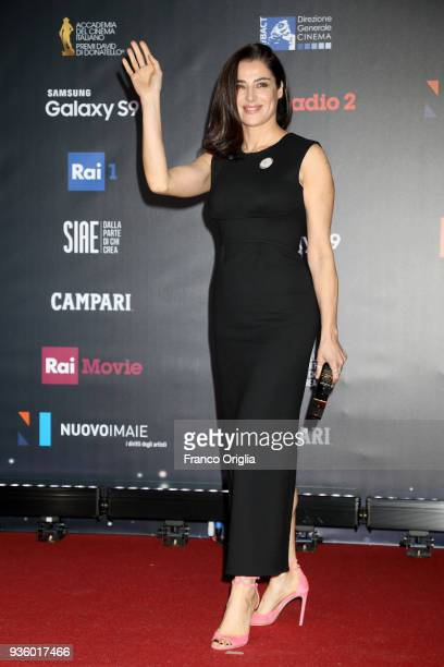 Luisa Ranieri walks a red carpet ahead of the 62nd David Di Donatello awards ceremony on March 21 2018 in Rome Italy