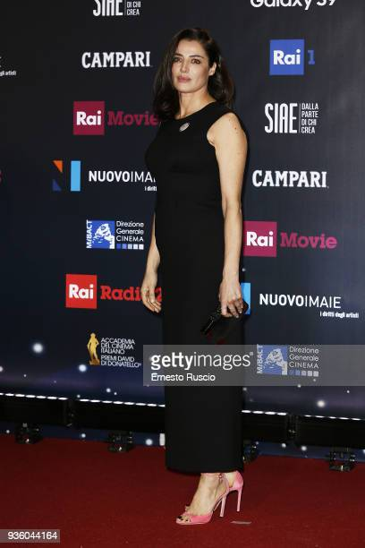 Luisa Ranieri walks the red carpet ahead of the 62nd David Di Donatello awards ceremony on March 21 2018 in Rome Italy