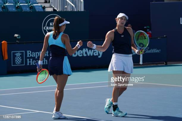 Luisa Stefani , left, and Hayley Carter during the womens doubles finals of the Miami Open on April 4 at Hard Rock Stadium in Miami Gardens, Florida